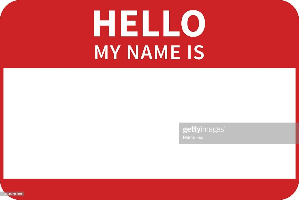 Hello, my name is introduction red flat label