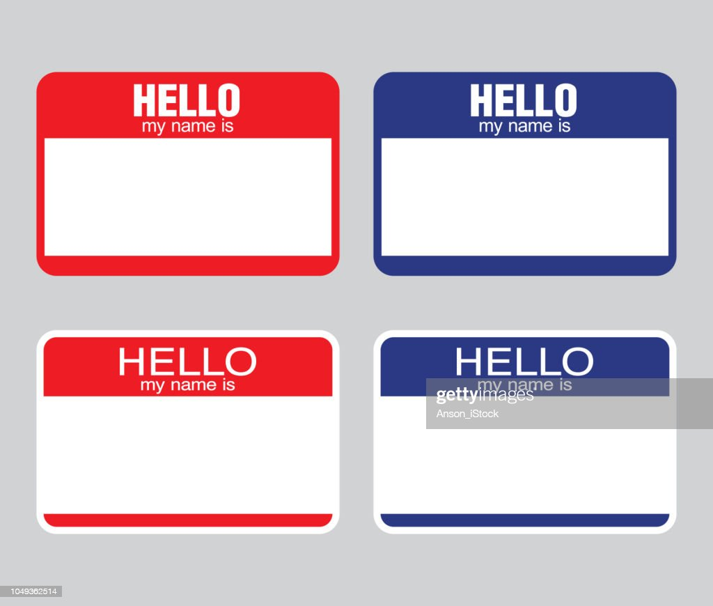 'Hello my name is' label sticker. vector