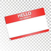 Hello, my name is. Red-white sticker on transparent background. Isolated design element for web, print, advertising. Vector stock.