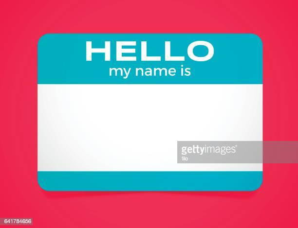 hello my name is sticker - verification stock illustrations, clip art, cartoons, & icons