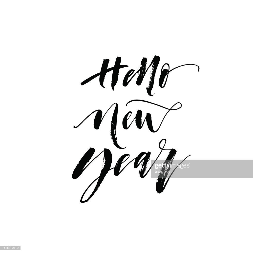 Hello new year postcard. : Clipart vectoriel