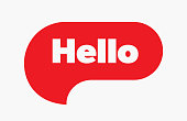 Hello quote message red bubble. Vector illustration. Simple Red Text Hello sign. Speech Red bubble with word Hello. Red Bubble Isolated on white background.