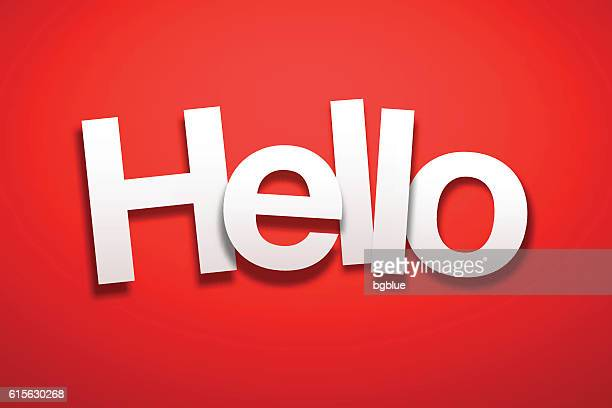 Hello Sign with Red Background - Paper Font