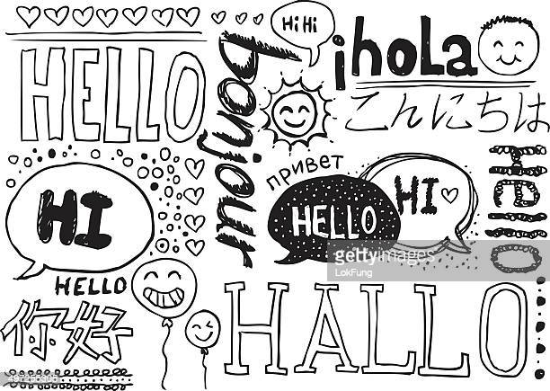 hello sketch drawing collection - social grace stock illustrations, clip art, cartoons, & icons