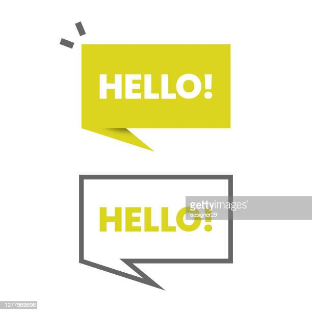 hello speech bubble icon vector design. - speech bubble stock illustrations