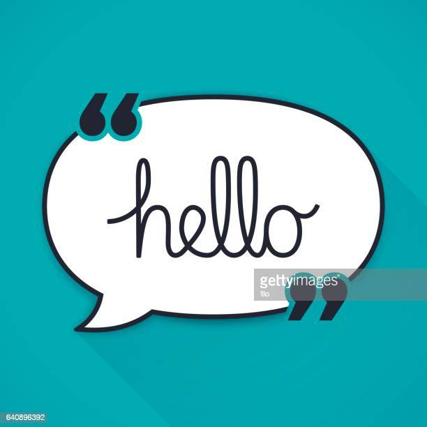 hello speech bubble quotation - greeting stock illustrations