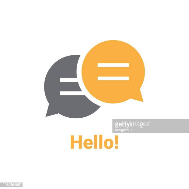 hello speech bubble - discussion stock illustrations