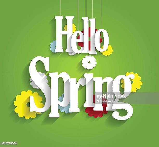 hello spring background on green background - welcome sign stock illustrations