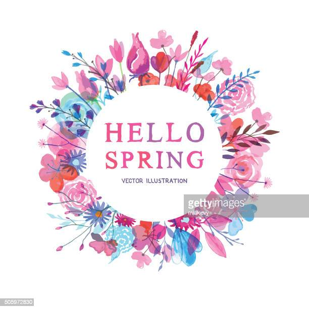 hello spring banner - flowering trees stock illustrations, clip art, cartoons, & icons