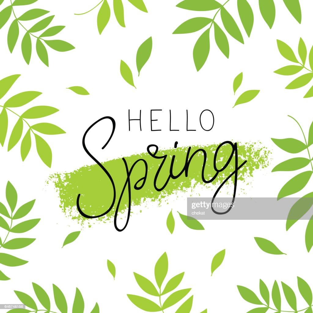 Hello spring. Calligraphy and lettering