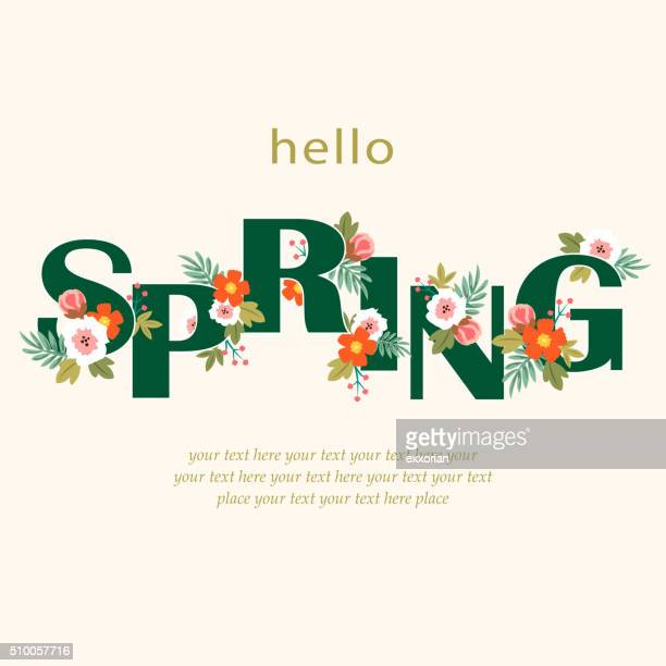 hello spring floral - springtime stock illustrations, clip art, cartoons, & icons