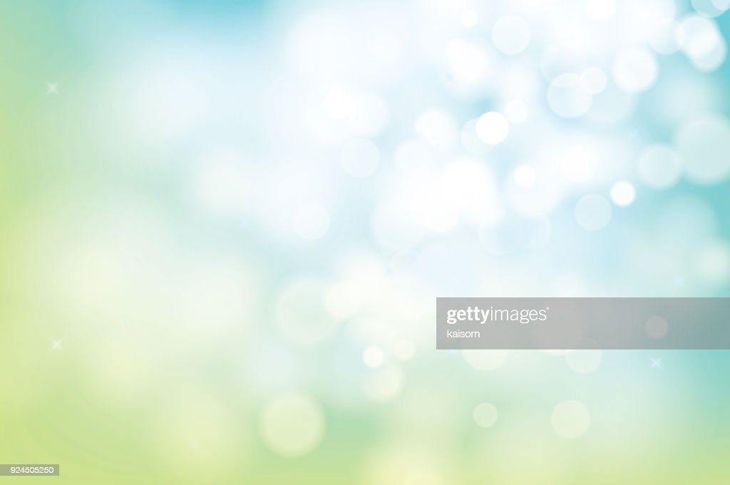 hello spring green bokeh blur abstract background.