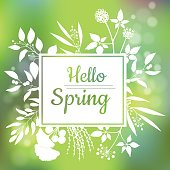 Hello Spring green card design with a textured abstract background