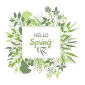 Hello Spring green card design with text in square floral