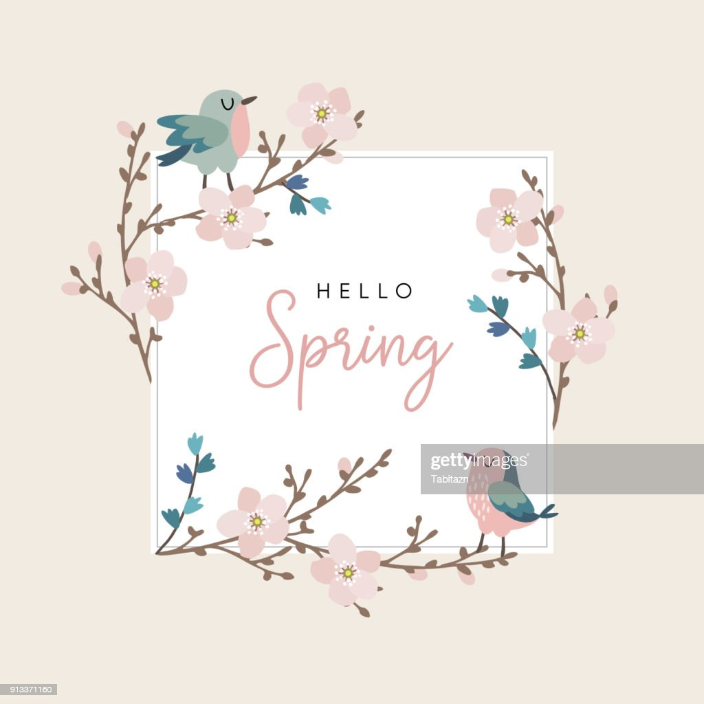 Hello spring greeting card, invitation with cute hand drawn birds and cherry tree branches with pink blossoms. Easter concept. Vector illustration background