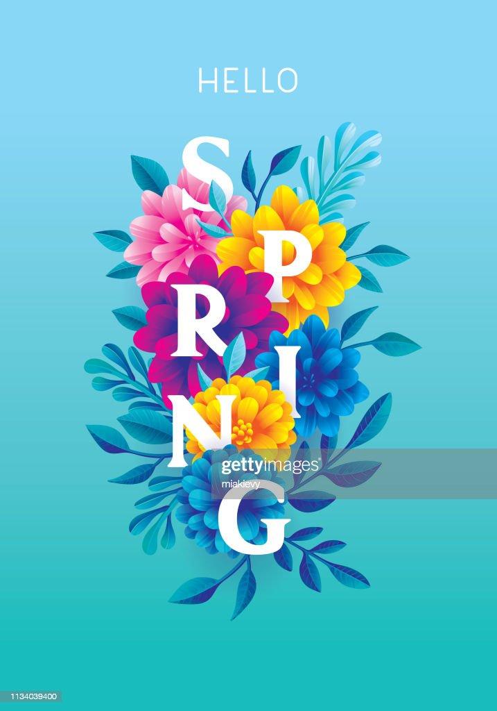 Bonjour printemps carte de voeux : Illustration