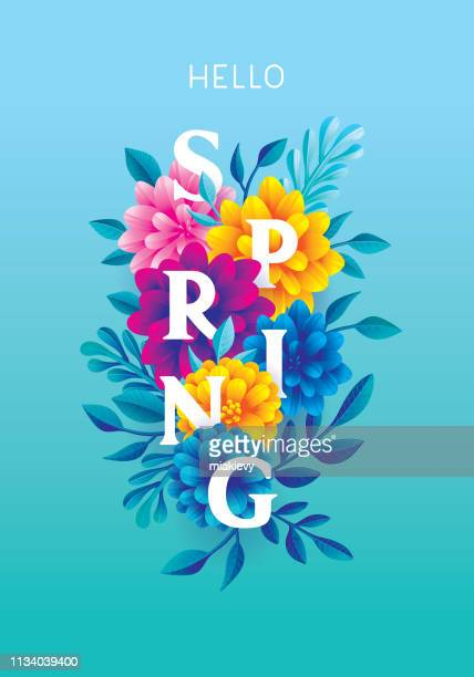 hello spring greeting card - springtime stock illustrations