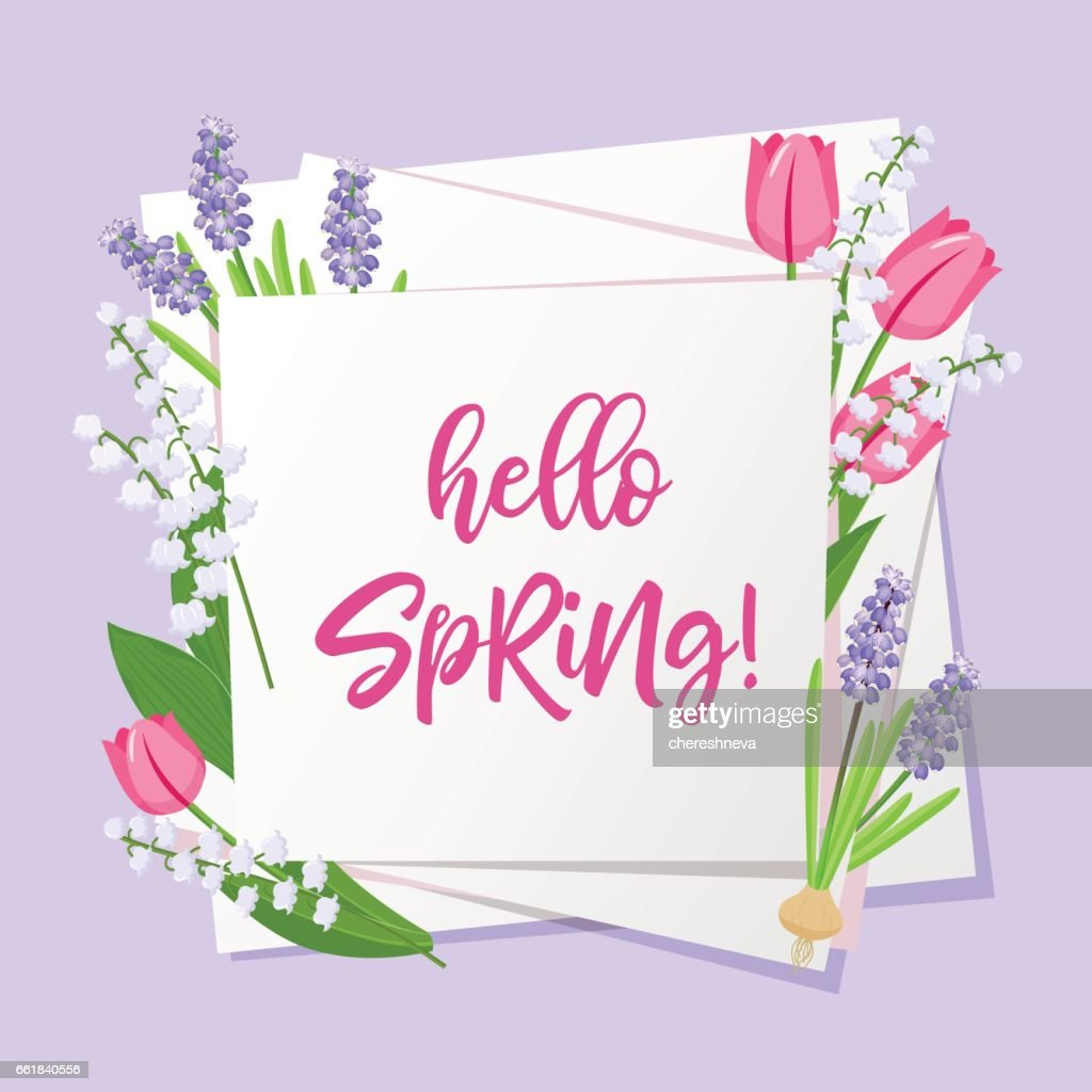 Hello Spring Lettering Spring Flowers On White Paper Background With