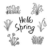 Hello Spring sketch set. First flowers and Lettering