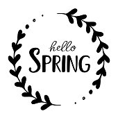 Hello spring. Vector hand drawn illustration with inscription and branch.