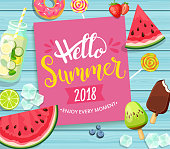 Hello summer 2018 card on blue wooden background.