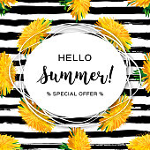 Hello summer advertising background, Summer flowers yellow dandelion. Trendy striped black pattern. All objects are editable, Vector illustration