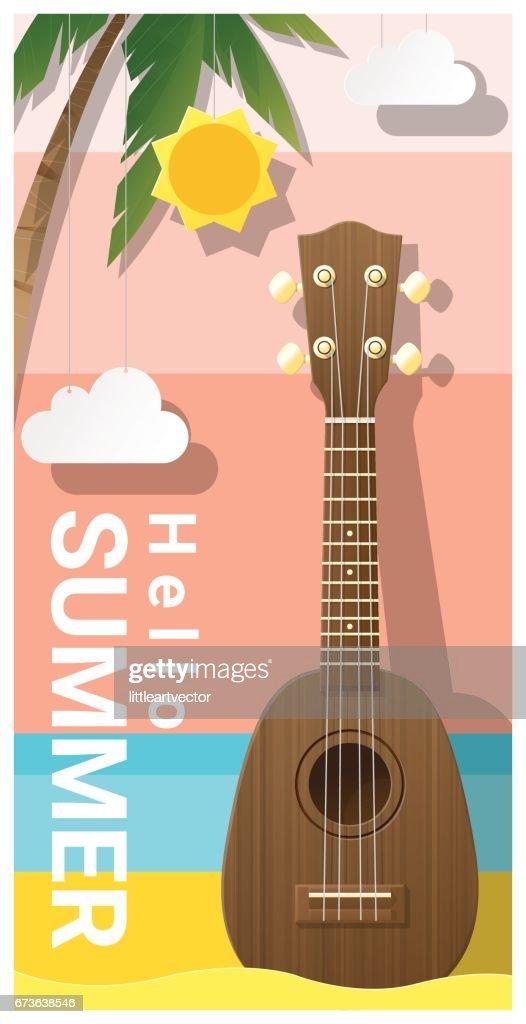 Hello summer background with ukulele , vector , illustration