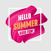 Hello Summer banner, brush painted pink smear,