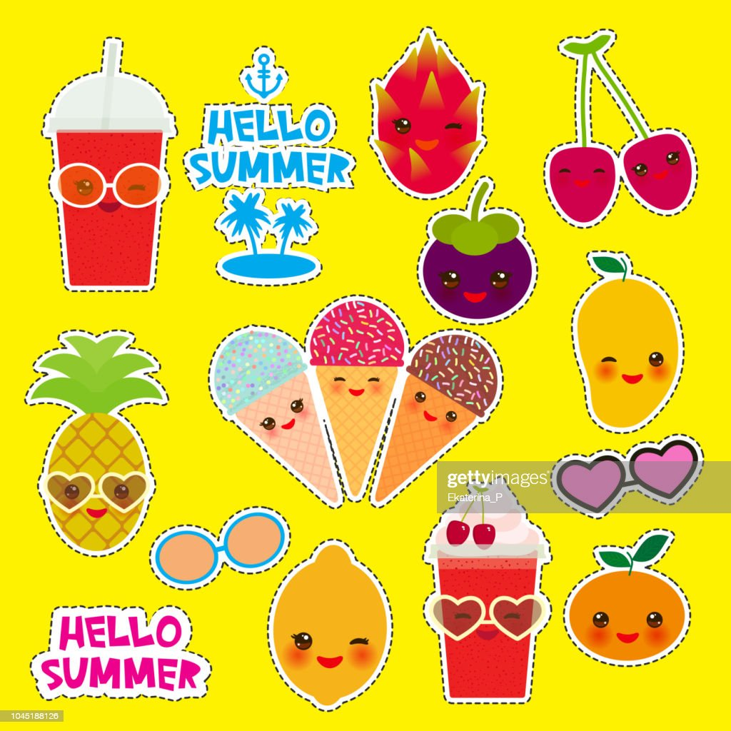 Hello Summer bright tropical card banner design, fashion patches badges stickers. Exotic fruits, pineapple, cherry smoothie cup, ice cream cone, sunglasses. Kawaii cute face. yellow background. Vector