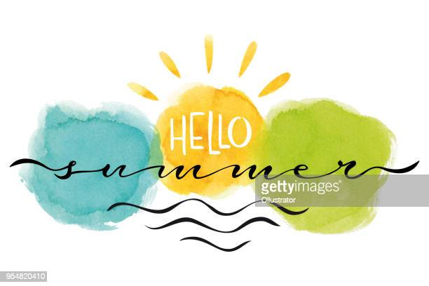 hallo sommer karte - sommer stock-grafiken, -clipart, -cartoons und -symbole