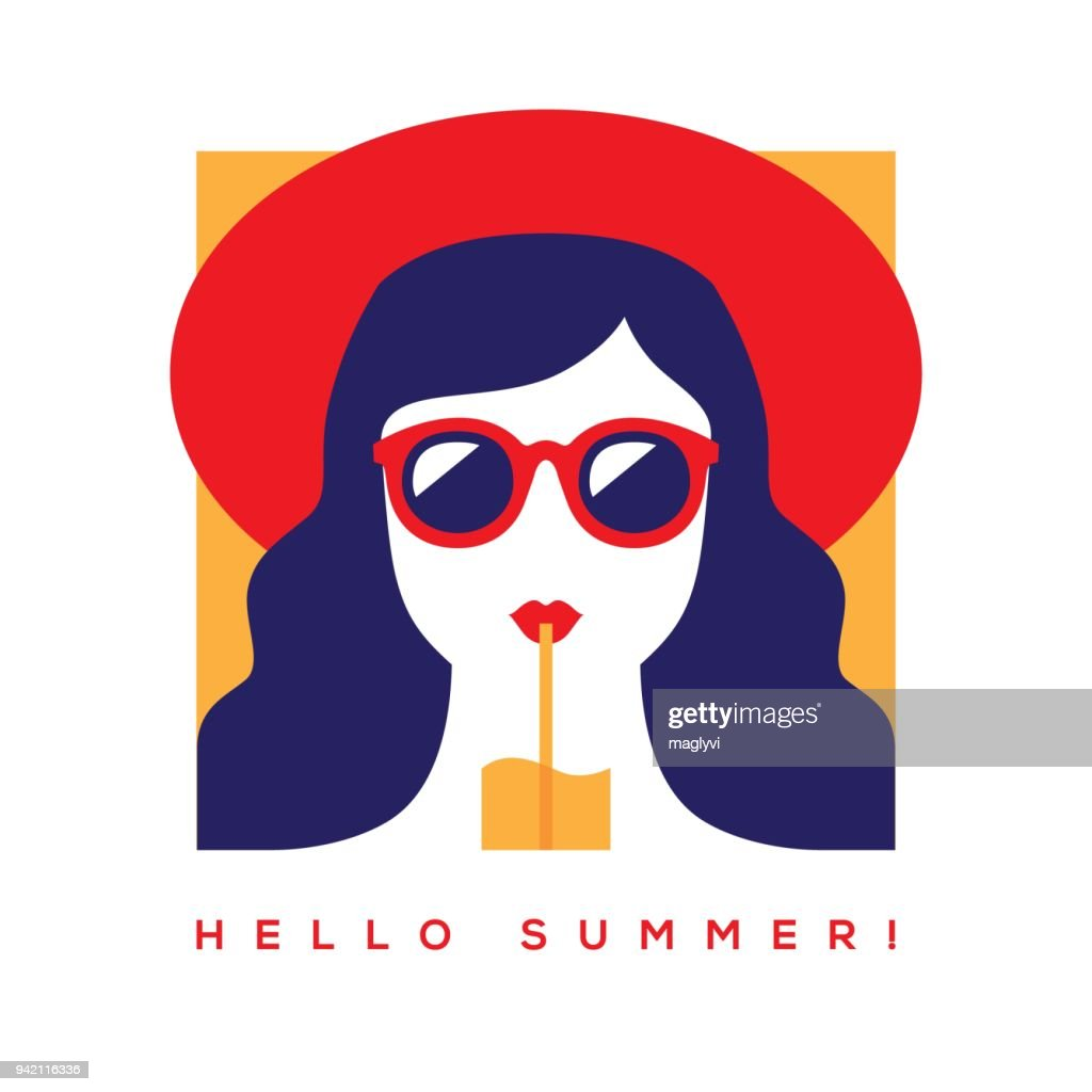 Hello summer card with girl in sunglasses and hat.
