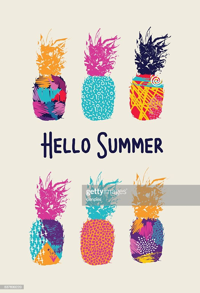 Hello summer color pineapple design in 80s style