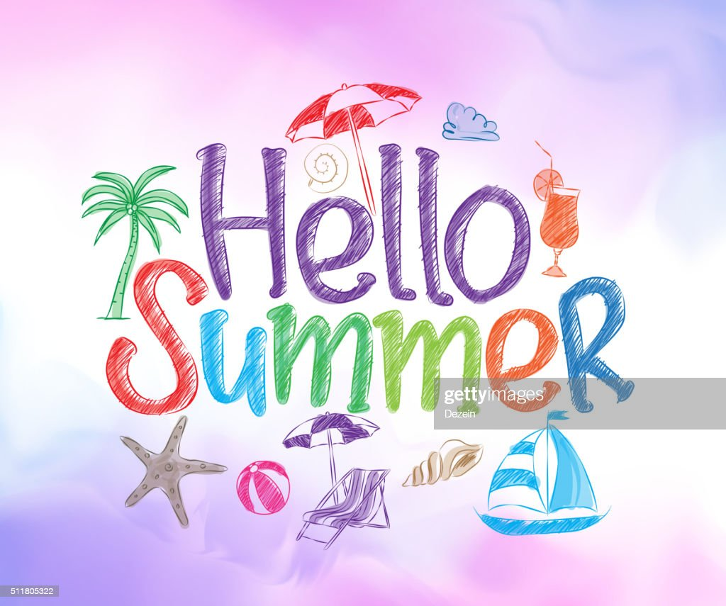 Hello Summer Colorful Design with Hand Drawing Vector Elements