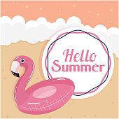 Hello Summer Flamingo Life Ring Beach Background Vector Image