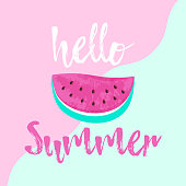 Hello Summer greeting card with pink Watermelon. Hand drawn Hello Summer lettering on colorful background
