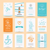 Hello Summer Greeting Cards, Nautic Illustrations