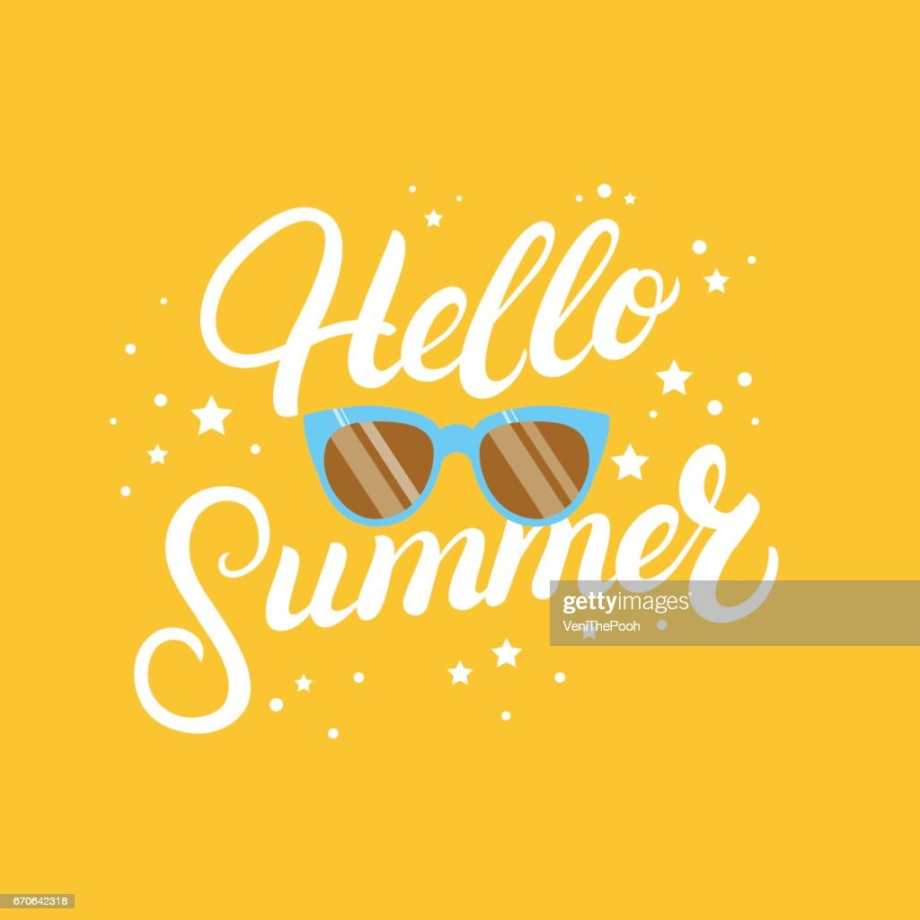 Hello summer hand written lettering quote with glasses.