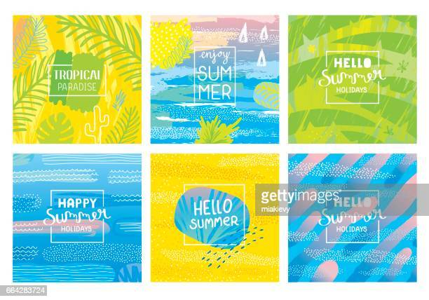 hello summer holidays backgrounds - summer stock illustrations