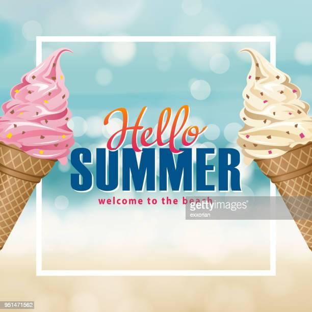hello summer ice-cream - frozen yogurt stock illustrations, clip art, cartoons, & icons