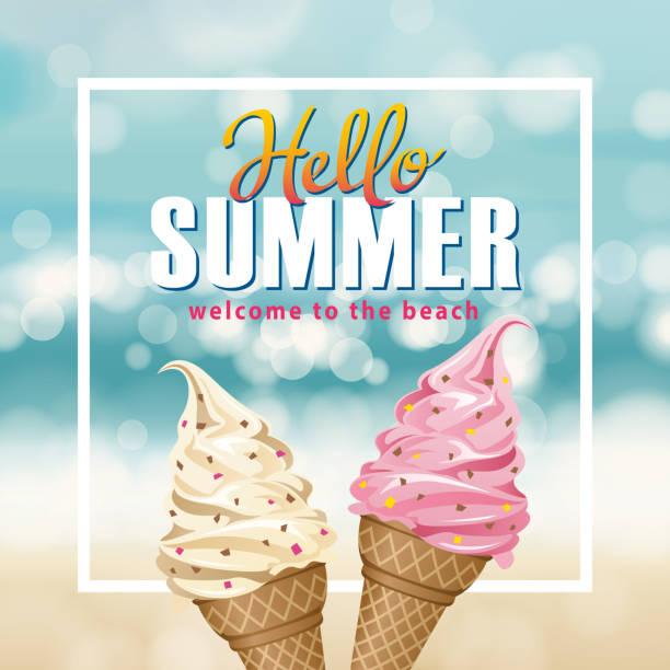 hello summer ice-cream - ice cream stock illustrations