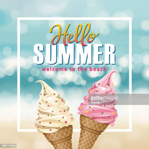 hello summer ice-cream - frozen food stock illustrations