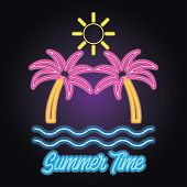 hello summer icon with neon sign effect