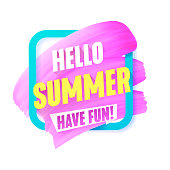 Hello Summer Pink smear in Frame vector label with text.