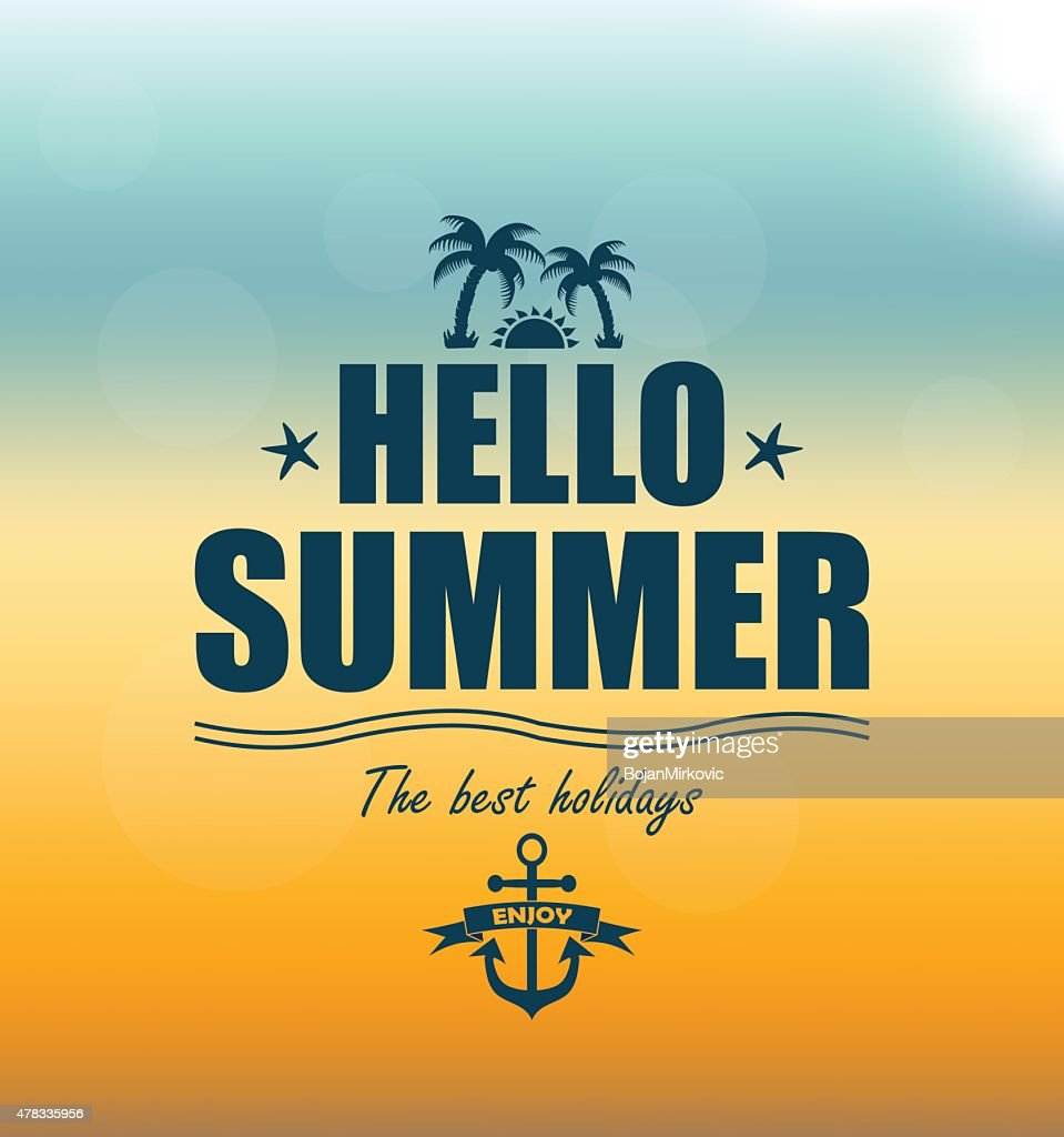 Hello Summer poster on mesh background