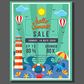 hello summer poster sale with beach wave flat style border