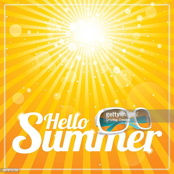 hello summer poster with cool white sunglasses and glorious sunshine - sunglasses stock illustrations, clip art, cartoons, & icons