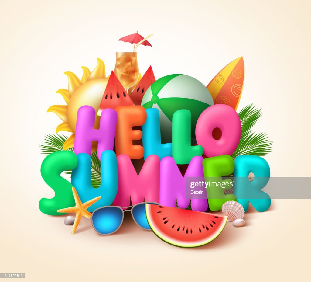 Hello summer text banner design with colorful summer elements