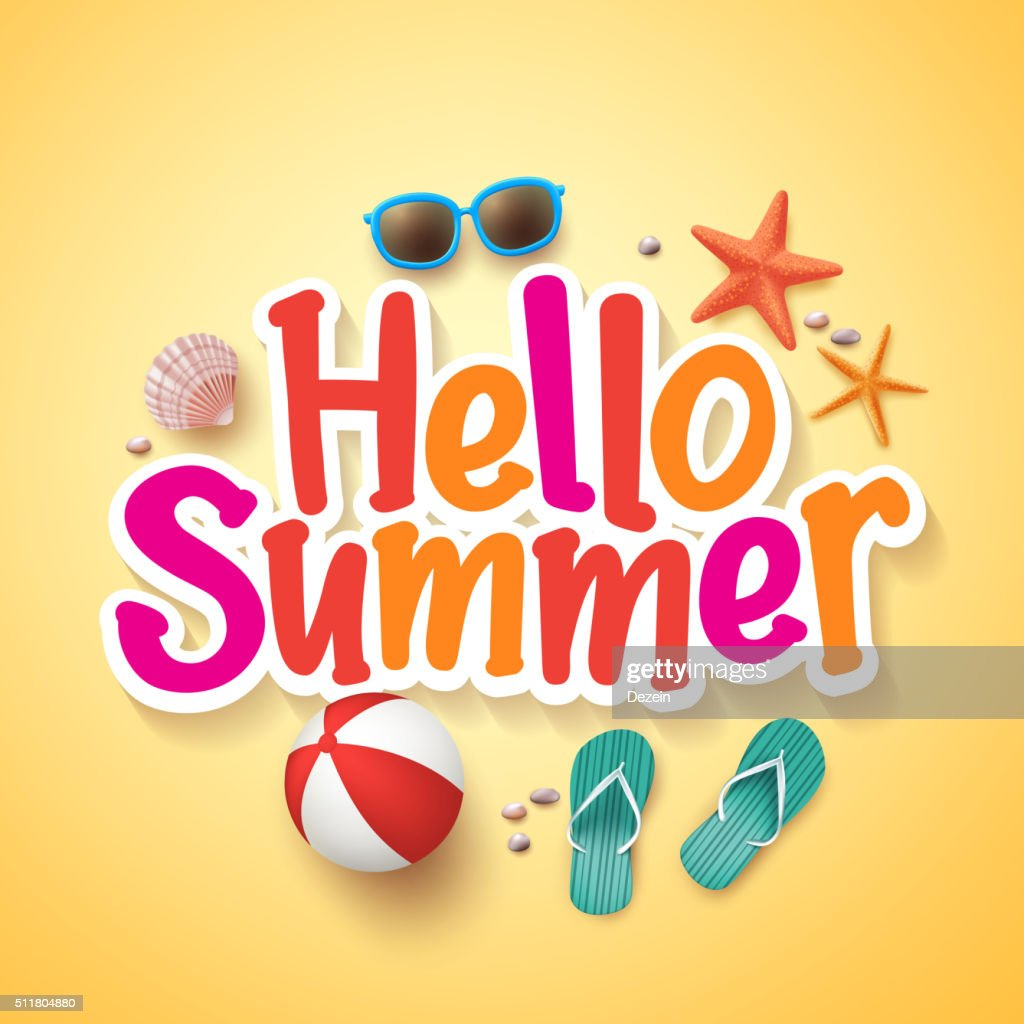 Hello Summer Text Title Poster Design with Realistic 3D Vector