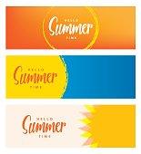 Hello summer time heading 3 design for banner or poster. Summer event concept. Vector illustration.