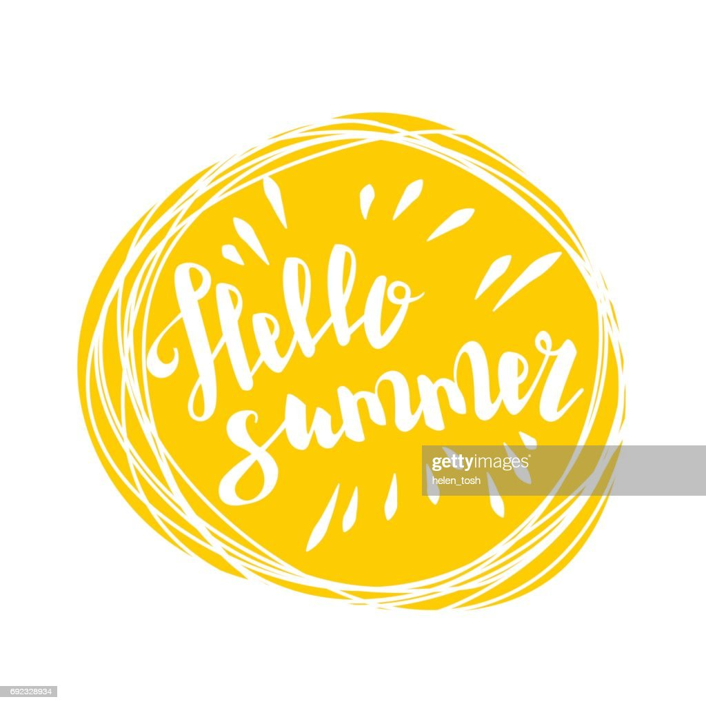 Hello summer time sun eco bio lettering text